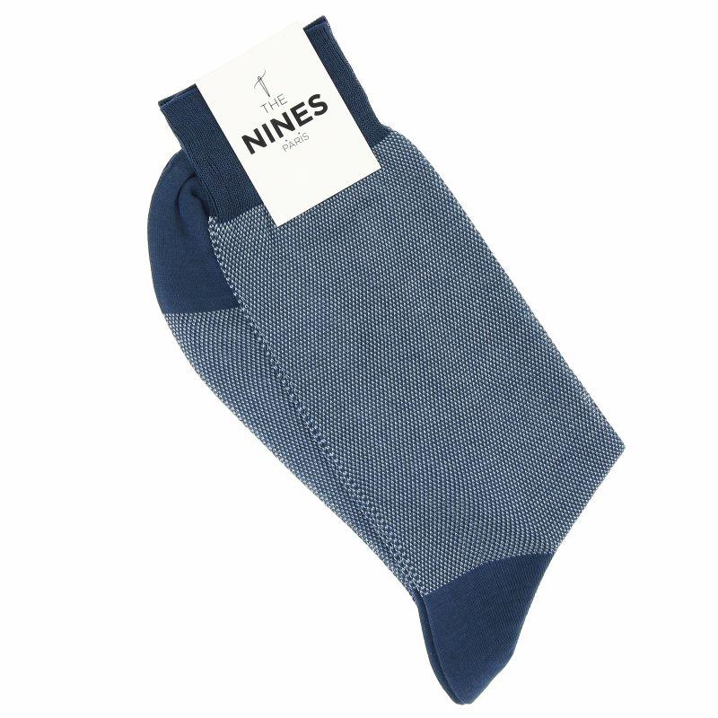 Chaussettes fil d'Écosse bleu acier motif caviar