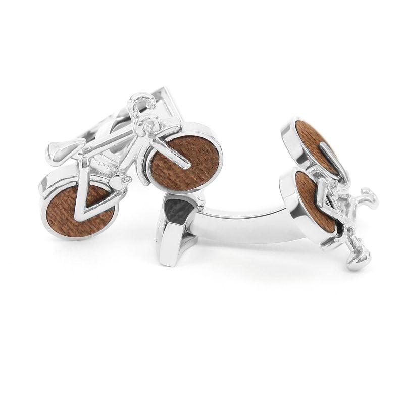 Boutons de manchette vélo en bois