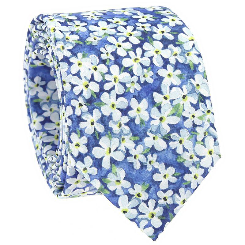 Cravate liberty bleue à fleurs blanches - Jasmin