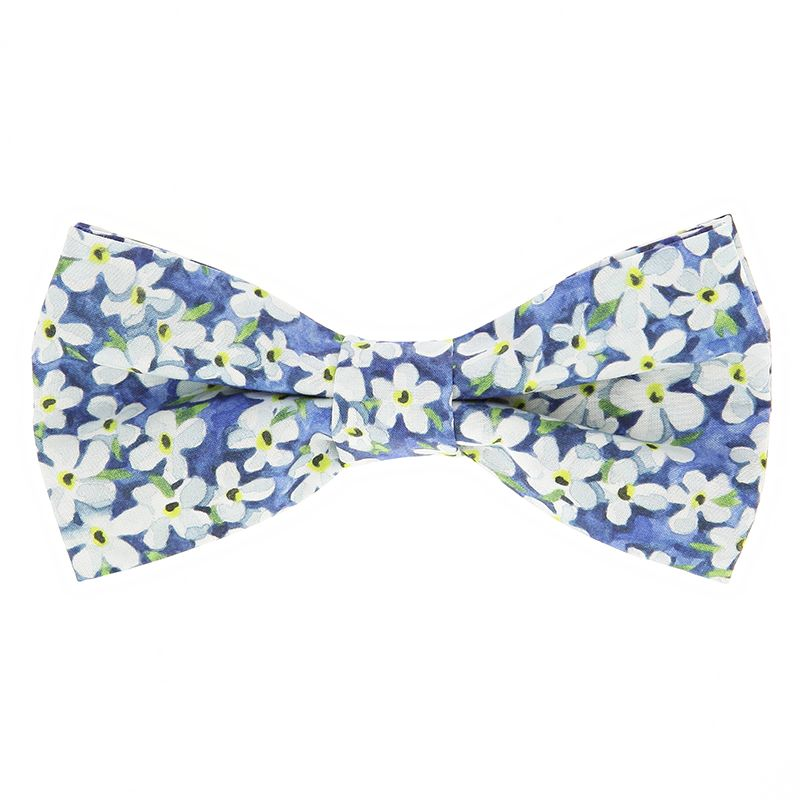 Noeud papillon liberty bleue à fleurs blanches - Jasmin