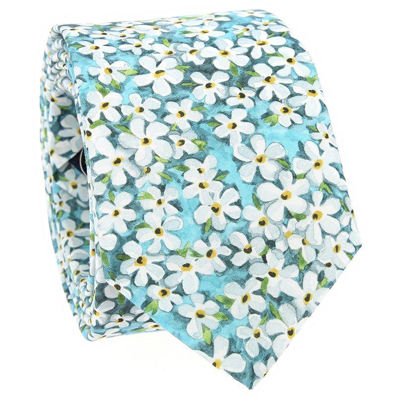 Cravate liberty bleu lagon à fleurs blanches - Jasmin