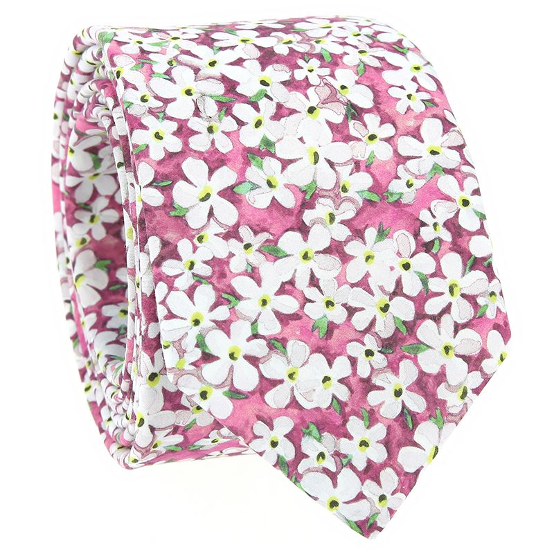 Cravate liberty rose à fleurs blanches - Jasmin