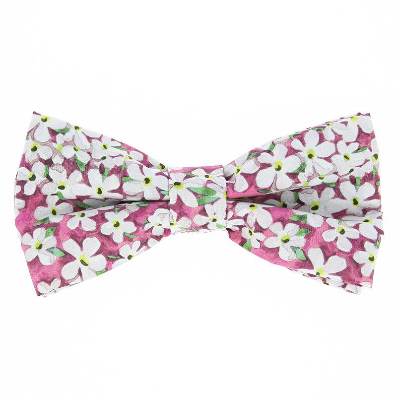 Noeud papillon liberty rose à fleurs blanches - Jasmin
