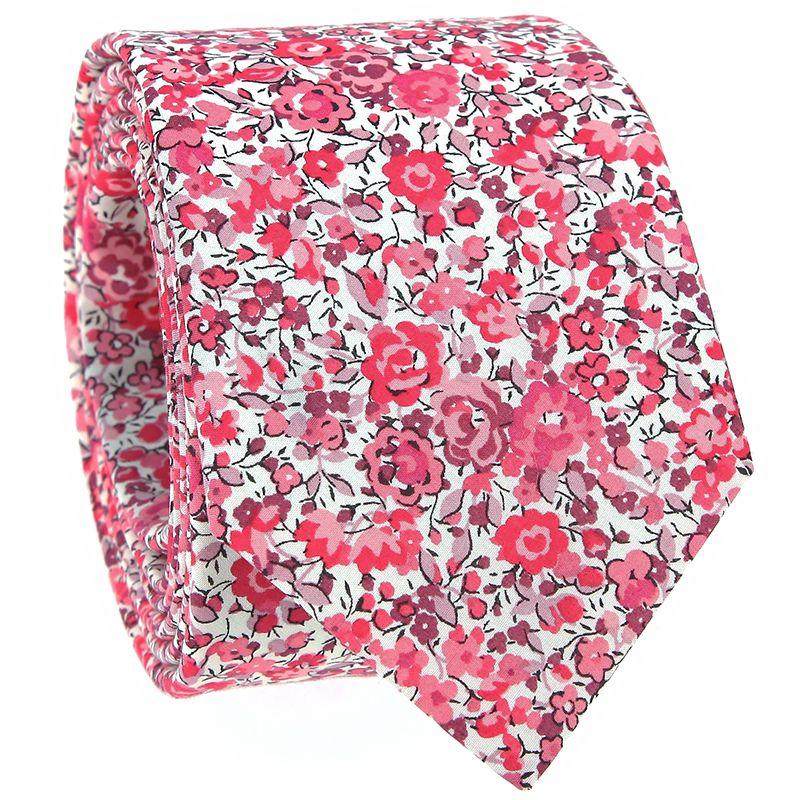 Cravate liberty rose à fleurs - Pivoine