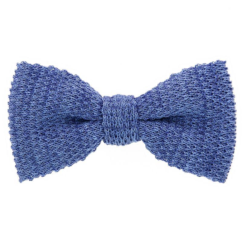 Noeud papillon tricot lin chiné bleu azur