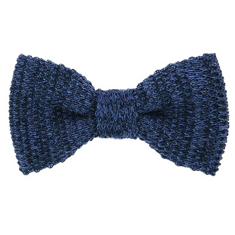 Noeud papillon tricot lin chiné bleu marine