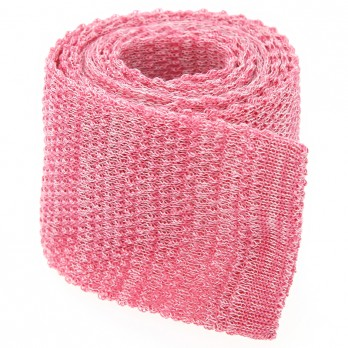 Cravate tricot lin chiné rose