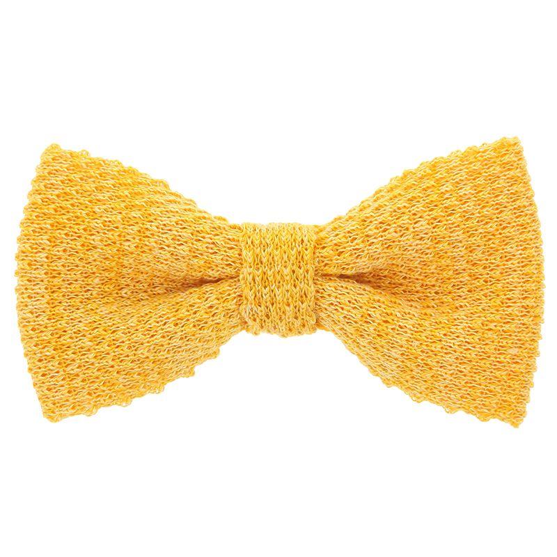 Noeud papillon tricot lin chiné jaune