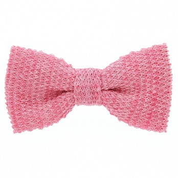 Noeud papillon tricot lin chiné rose