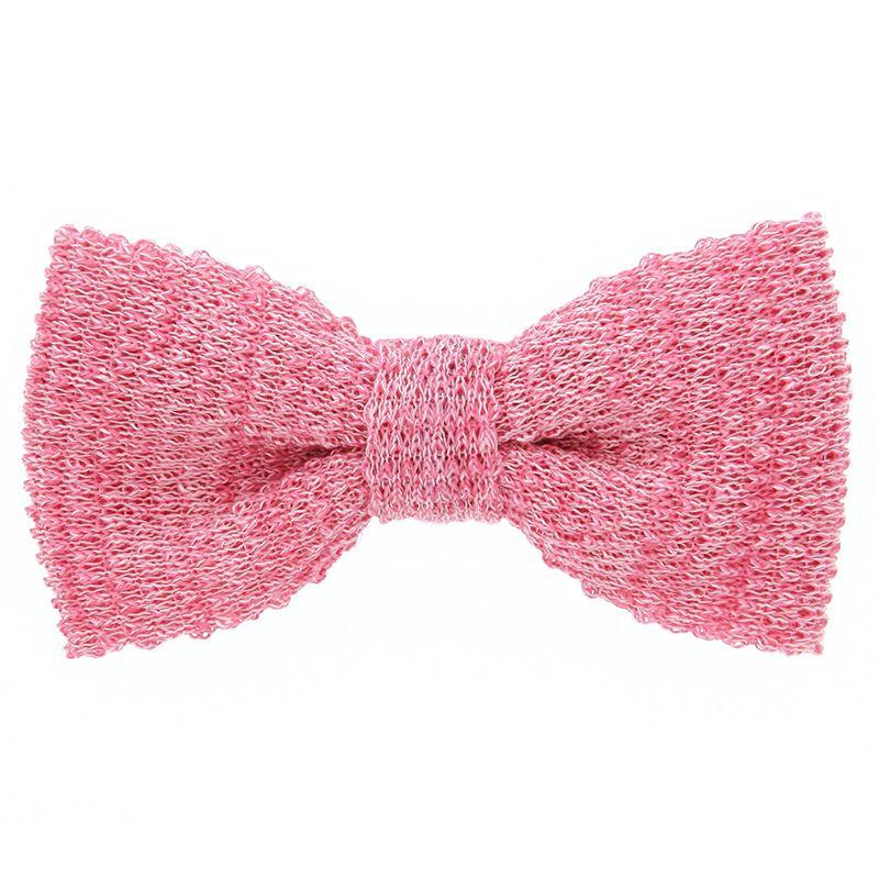 Noeud papillon tricot lin chiné rose