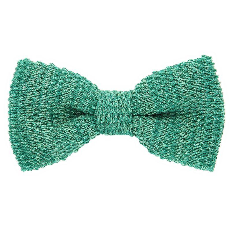 Noeud papillon tricot lin chiné vert
