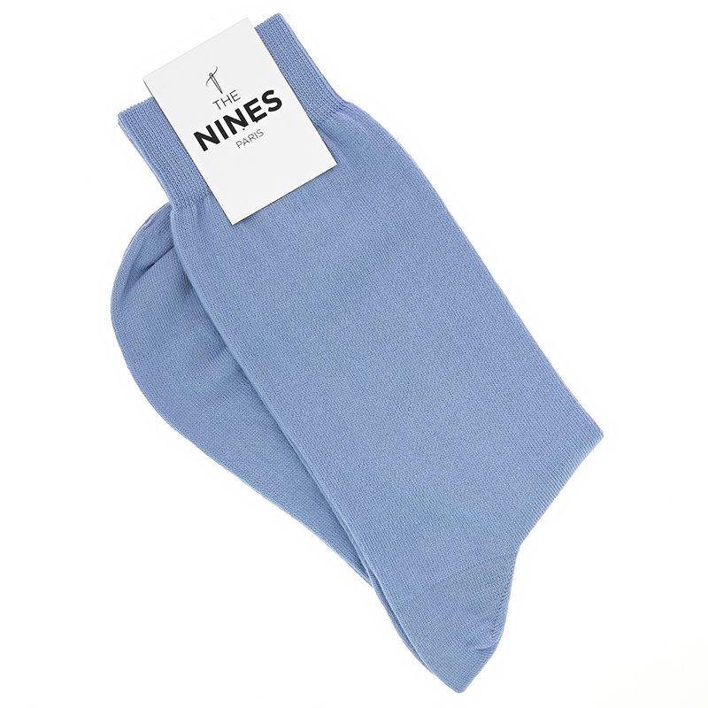 Chaussettes coton peigné bleu ciel - Carlo