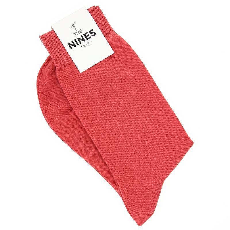 Chaussettes coton peigné rouge corail - Carlo