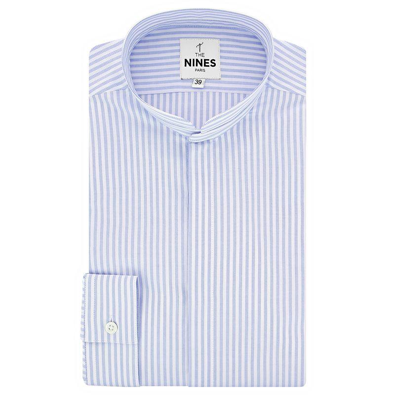 Chemise col Mao à rayures bleu ciel