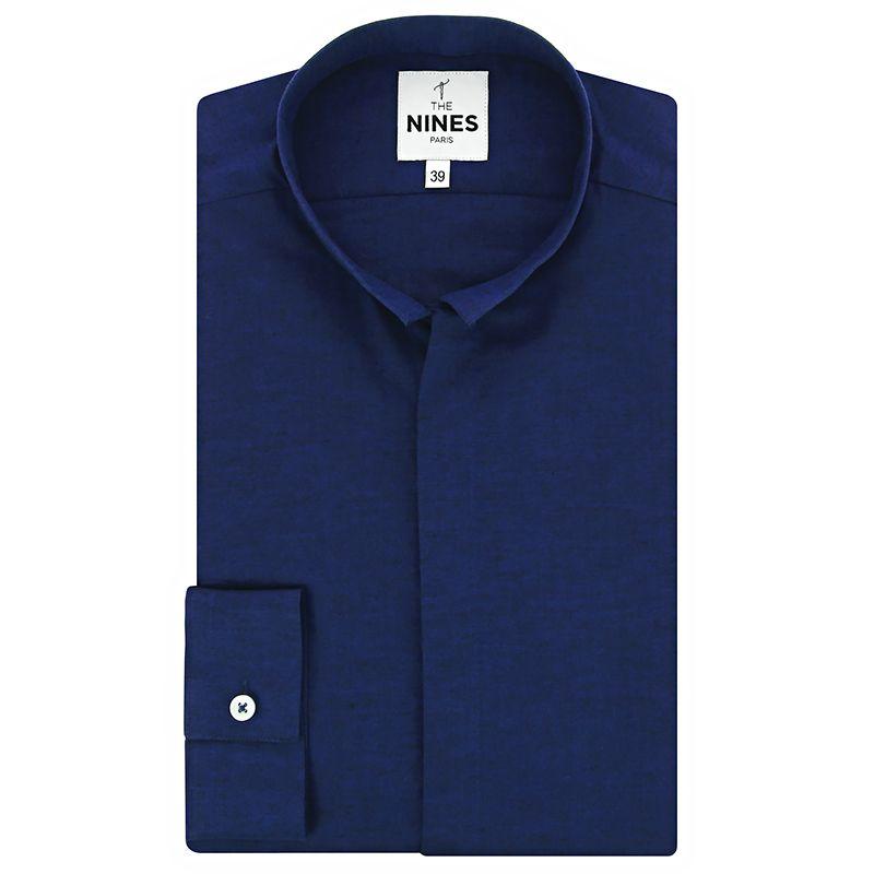 Chemise col inversé bleu nuit chiné