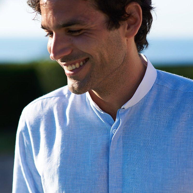 Chemise col inversé à motif pied-de-poule bleu ciel