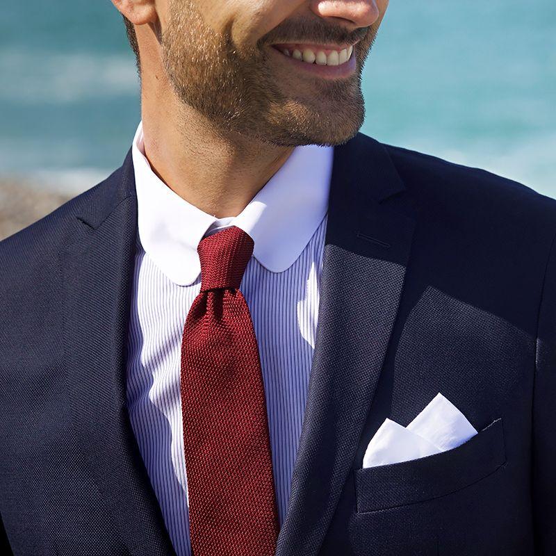 Chemise mousquetaire col anglais blanc à rayures bleues