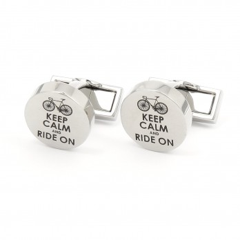 Boutons de manchette vélo - Keep Calm and Ride On