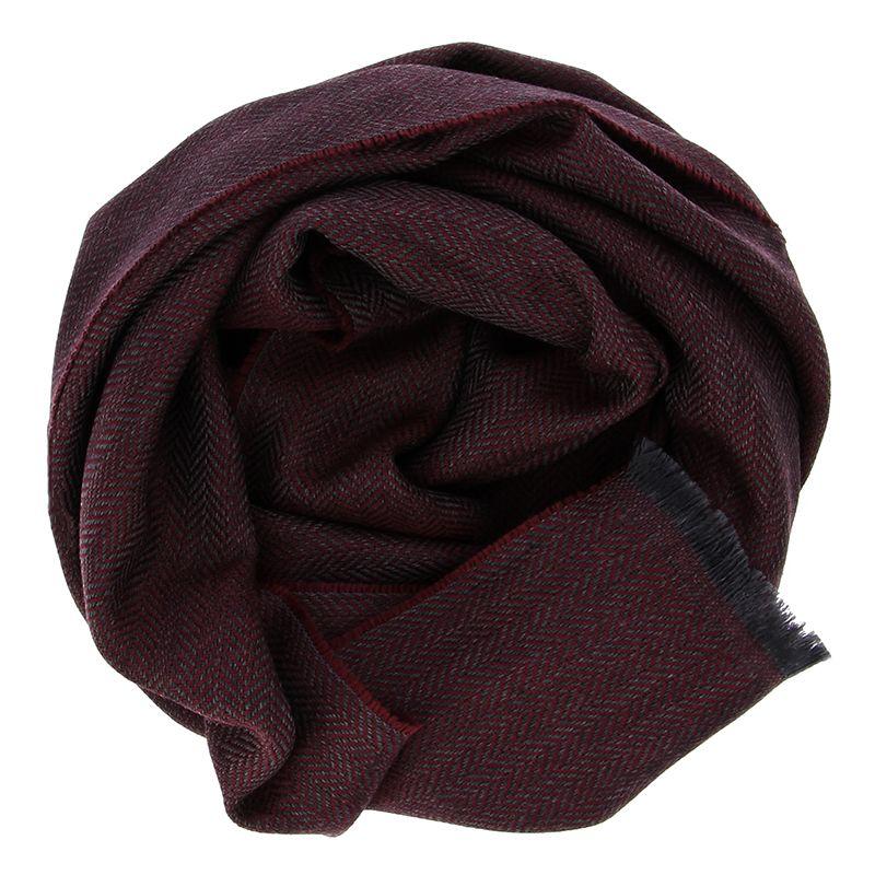 Écharpe laine mérinos à chevrons - Bordeaux
