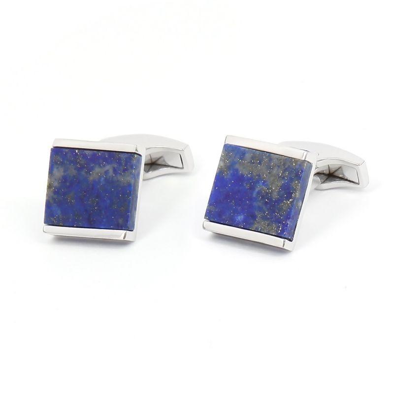 Boutons de manchette argent massif et lapis lazuli carrés - Minkebe