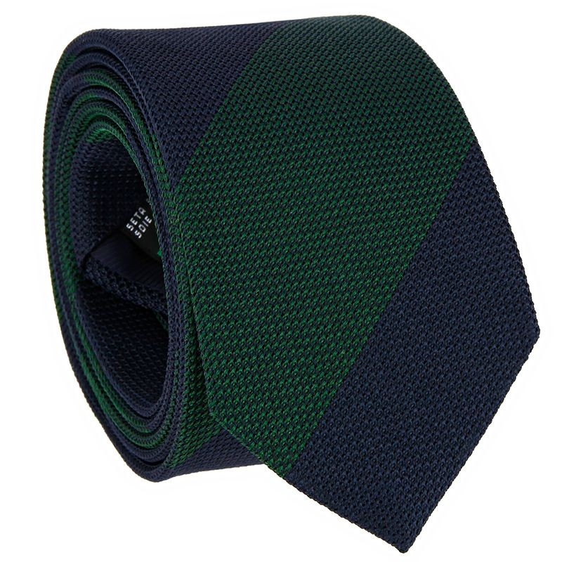 Cravate grenadine de soie bleu marine à rayures vertes