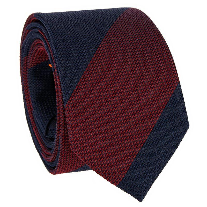 Cravate grenadine de soie bleu marine à rayures bordeaux