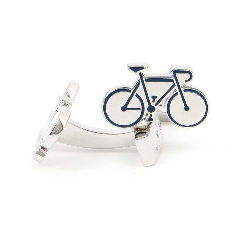Boutons de manchette vélo de course bleu