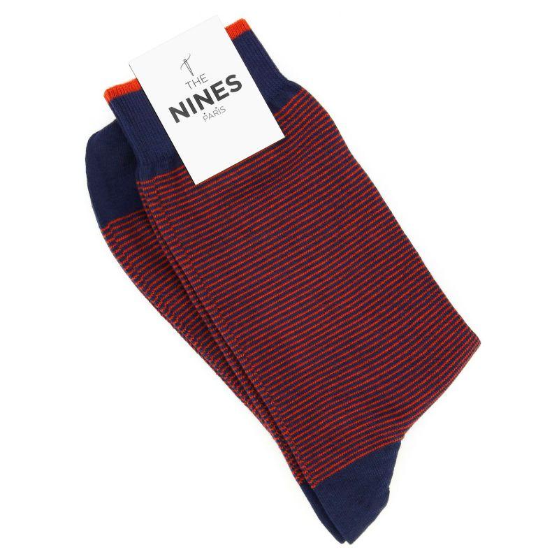Chaussettes coton doux bleu marine à rayures oranges