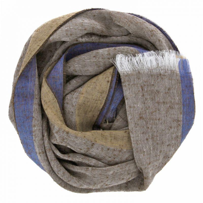 Écharpe marron en lin et soie