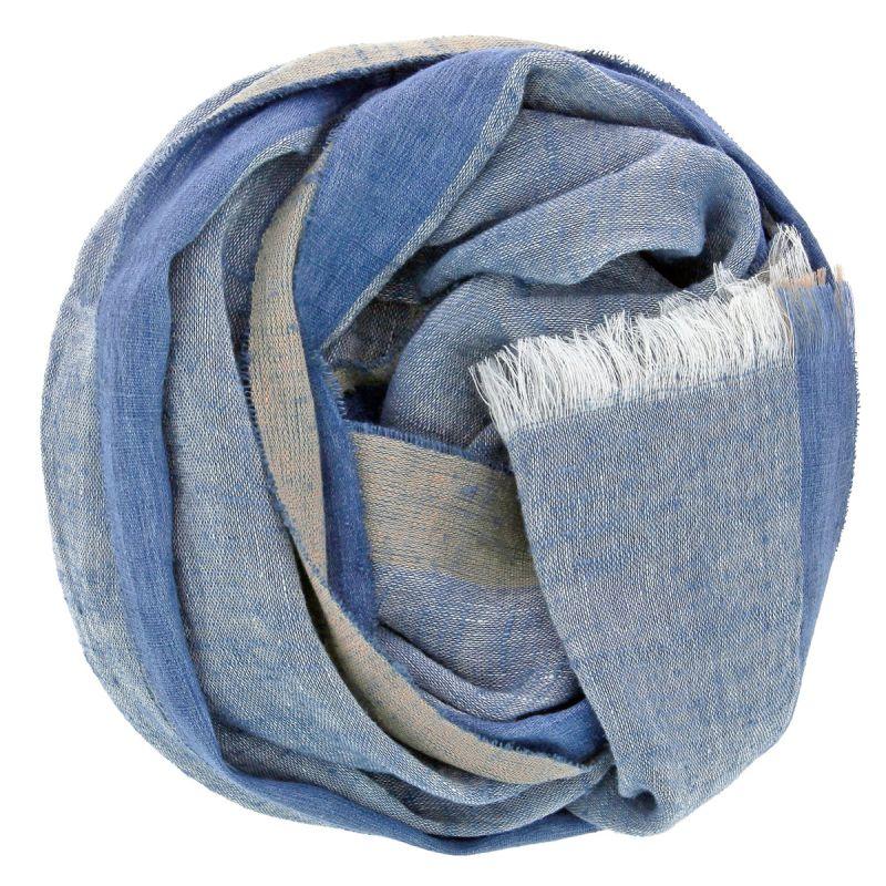 Écharpe bleue en lin et soie