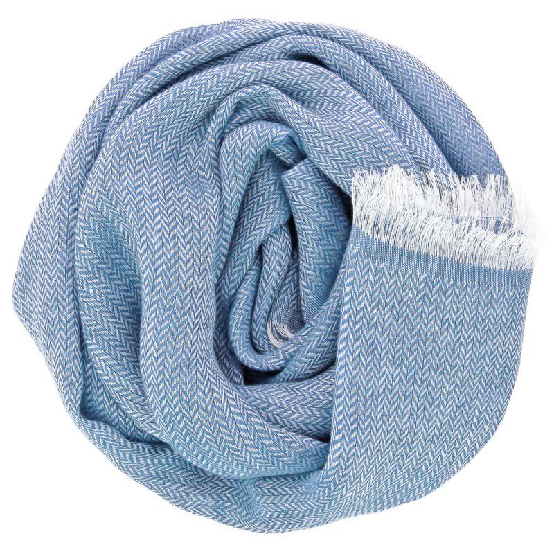 Écharpe lin bleu denim à chevrons