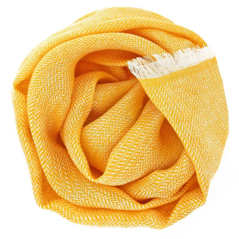 Écharpe jaune en lin à chevrons