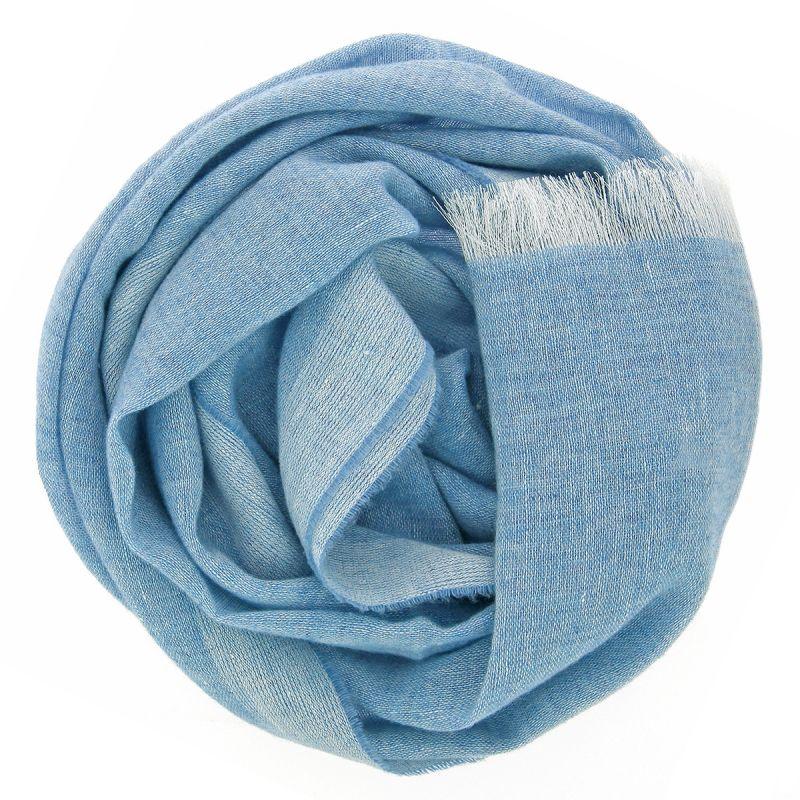 Écharpe cachemire et lin bleu ciel