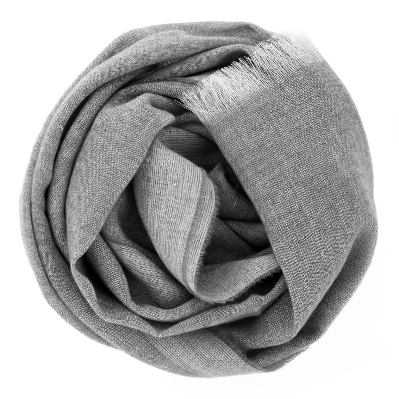 Écharpe grise en cachemire et lin
