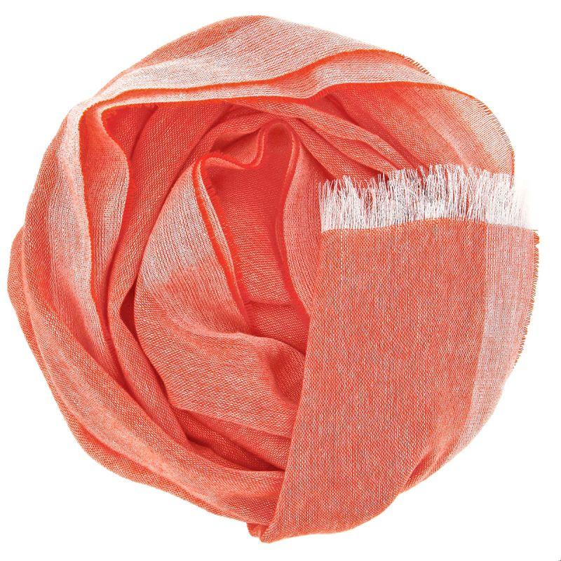 Écharpe orange en cachemire et lin
