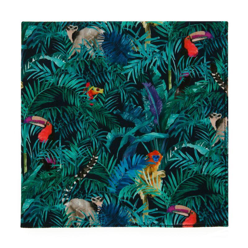 Pochette de costume Liberty vert motif jungle