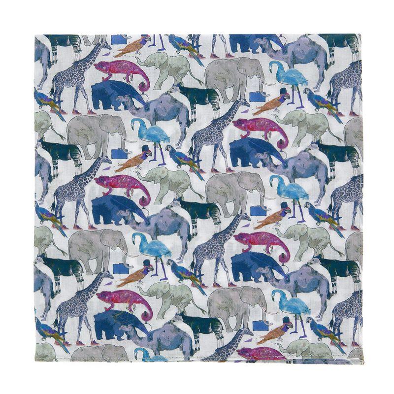 Pochette de costume Liberty bleu et gris à motifs animaux