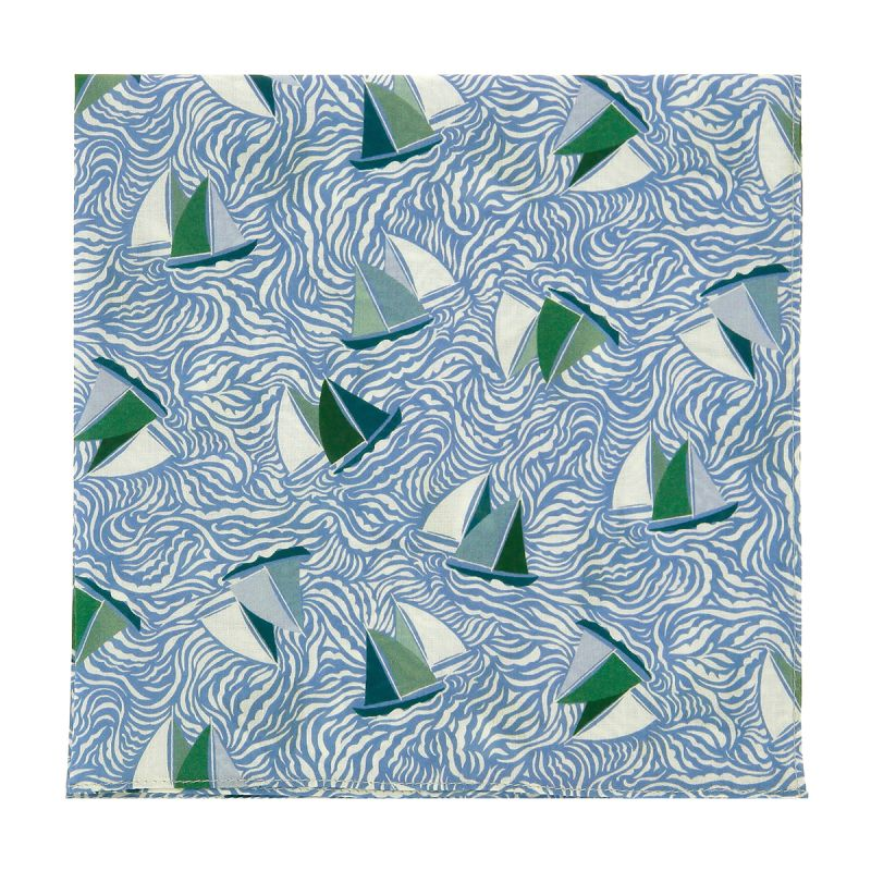 Pochette de costume Liberty vert et bleu à motif voilier