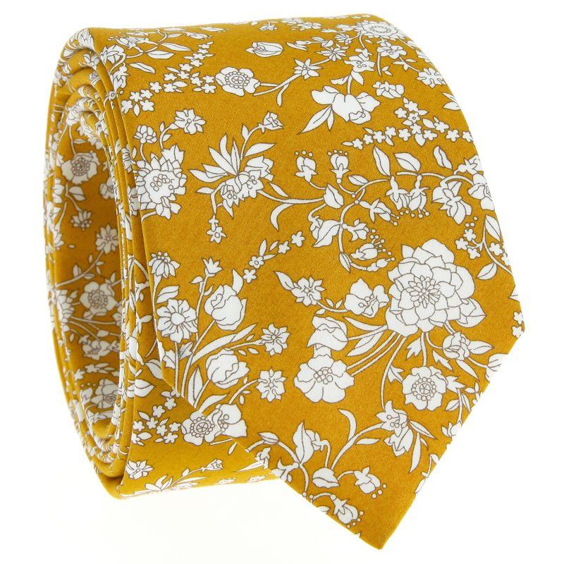 Cravate Liberty jaune moutarde