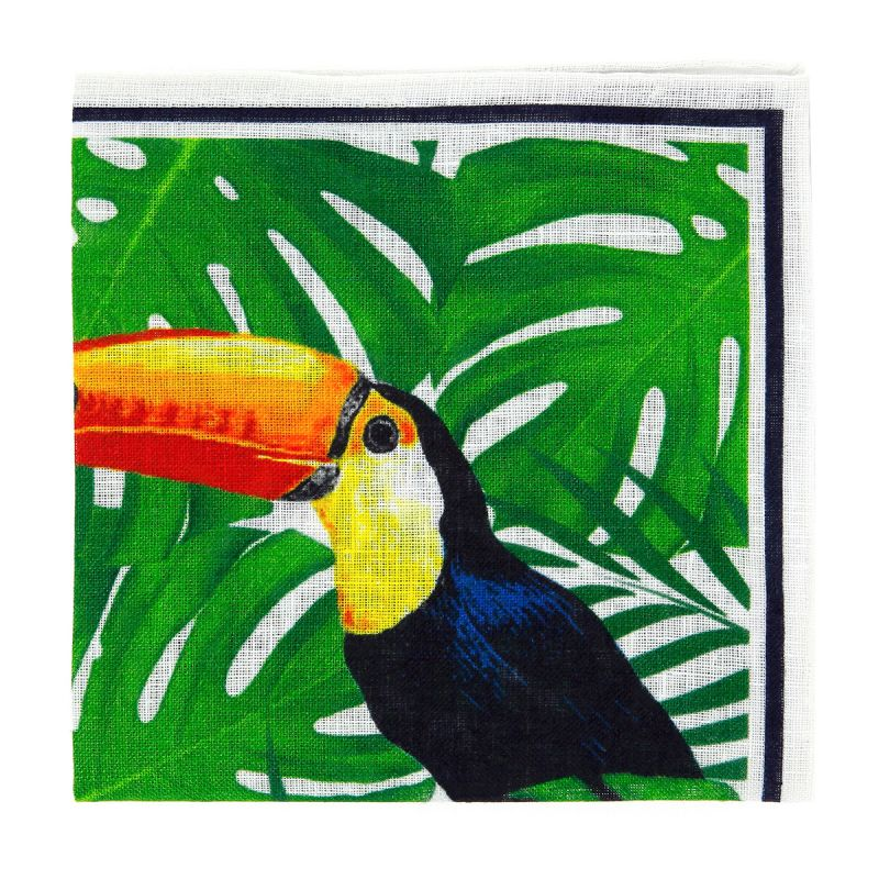Pochette de costume jaune et vert motif toucan