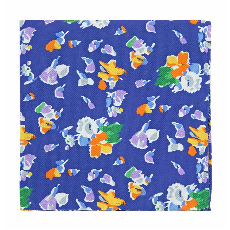 Pochette costume à fleurs bleu