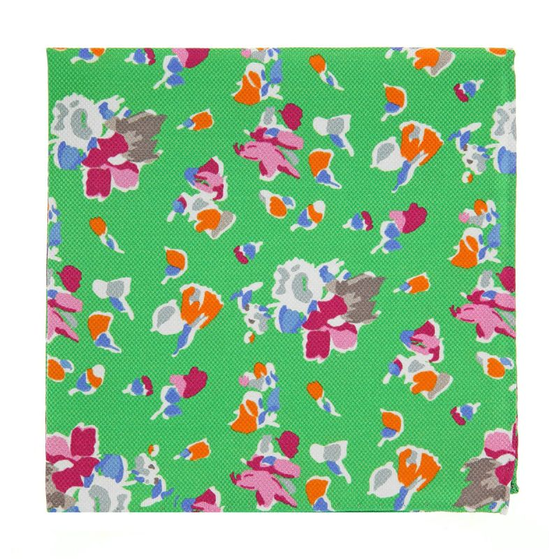 Pochette costume à fleurs vert