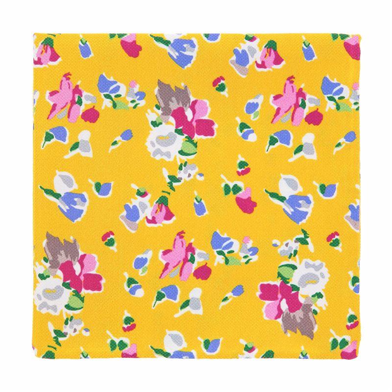 Pochette costume à fleurs jaune