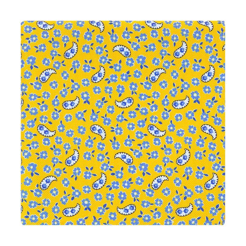 Pochette costume motif cachemire et fleurs jaune