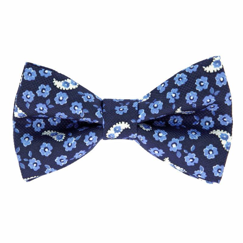 Noeud papillon motif cachemire et fleurs bleu marine