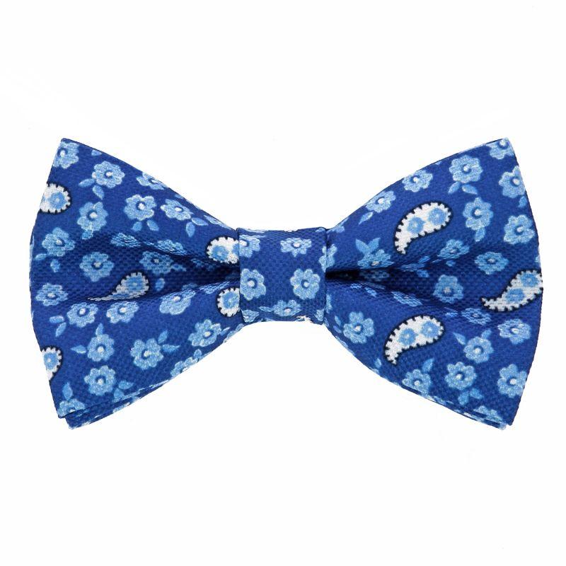 Noeud papillon motif cachemire et fleurs bleu