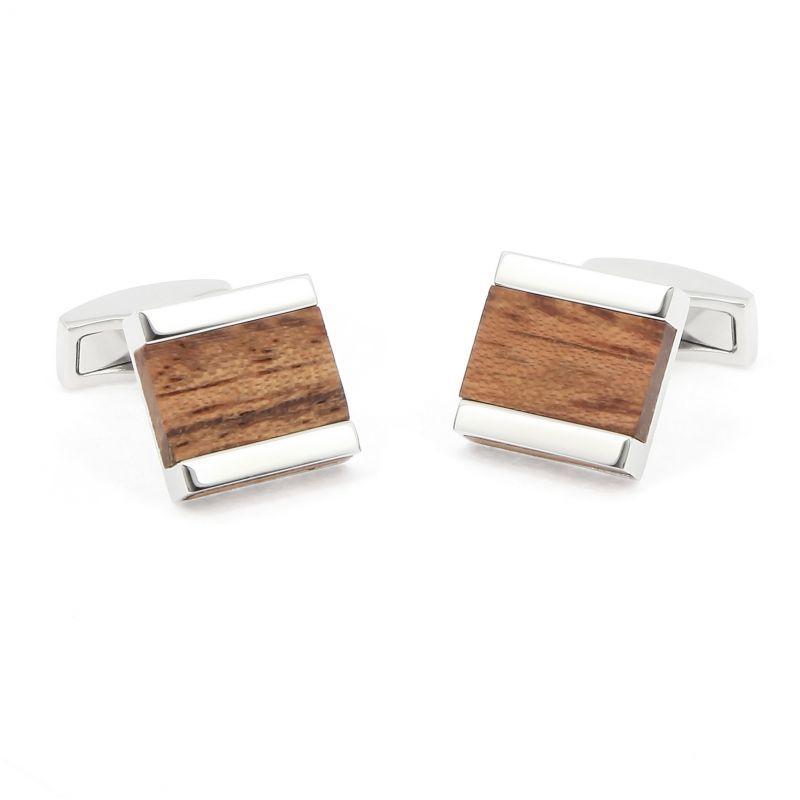 Boutons de manchette carrés en bois bubinga - Minkebe