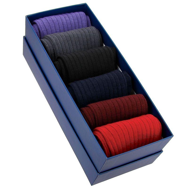 Semainier 6 paires de chaussettes en laine vierge - Couleurs classiques