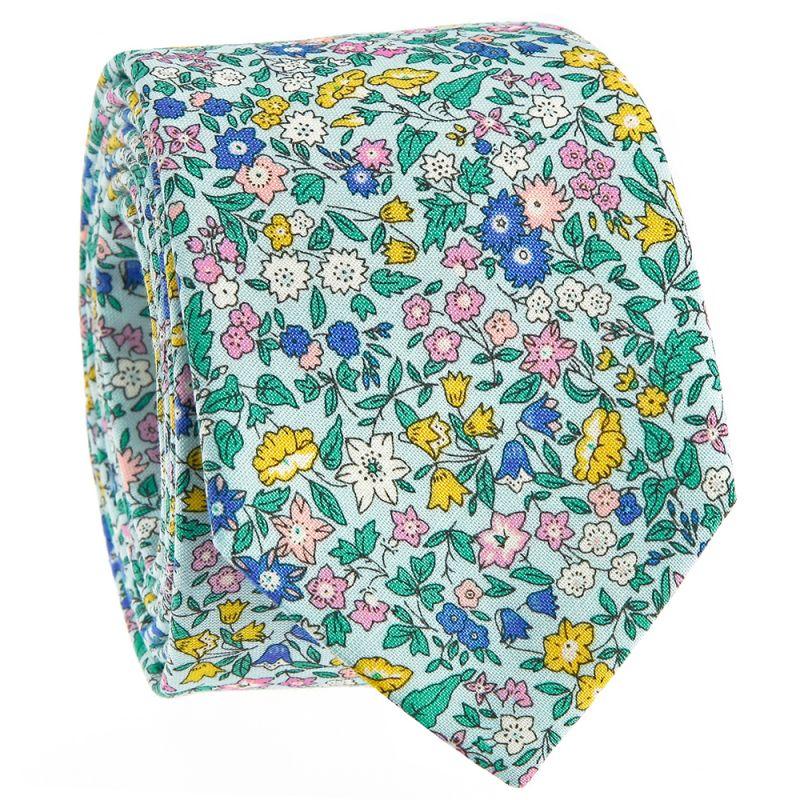 Cravate Liberty verte - fleurs des champs