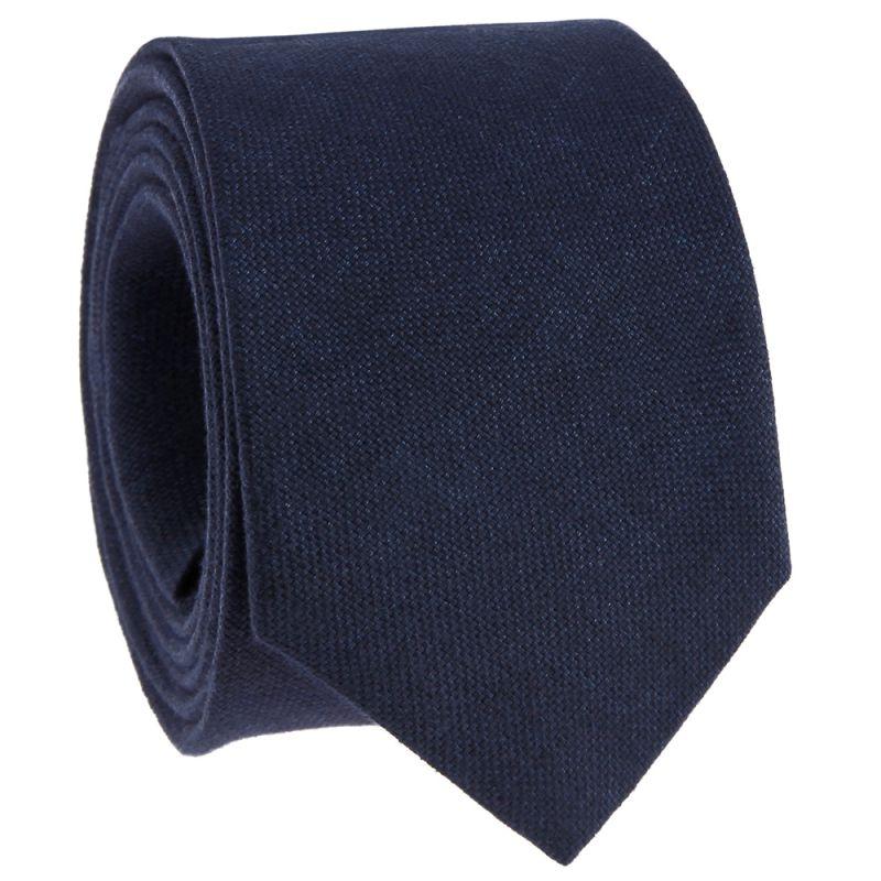 Cravate bleu foncé en lin